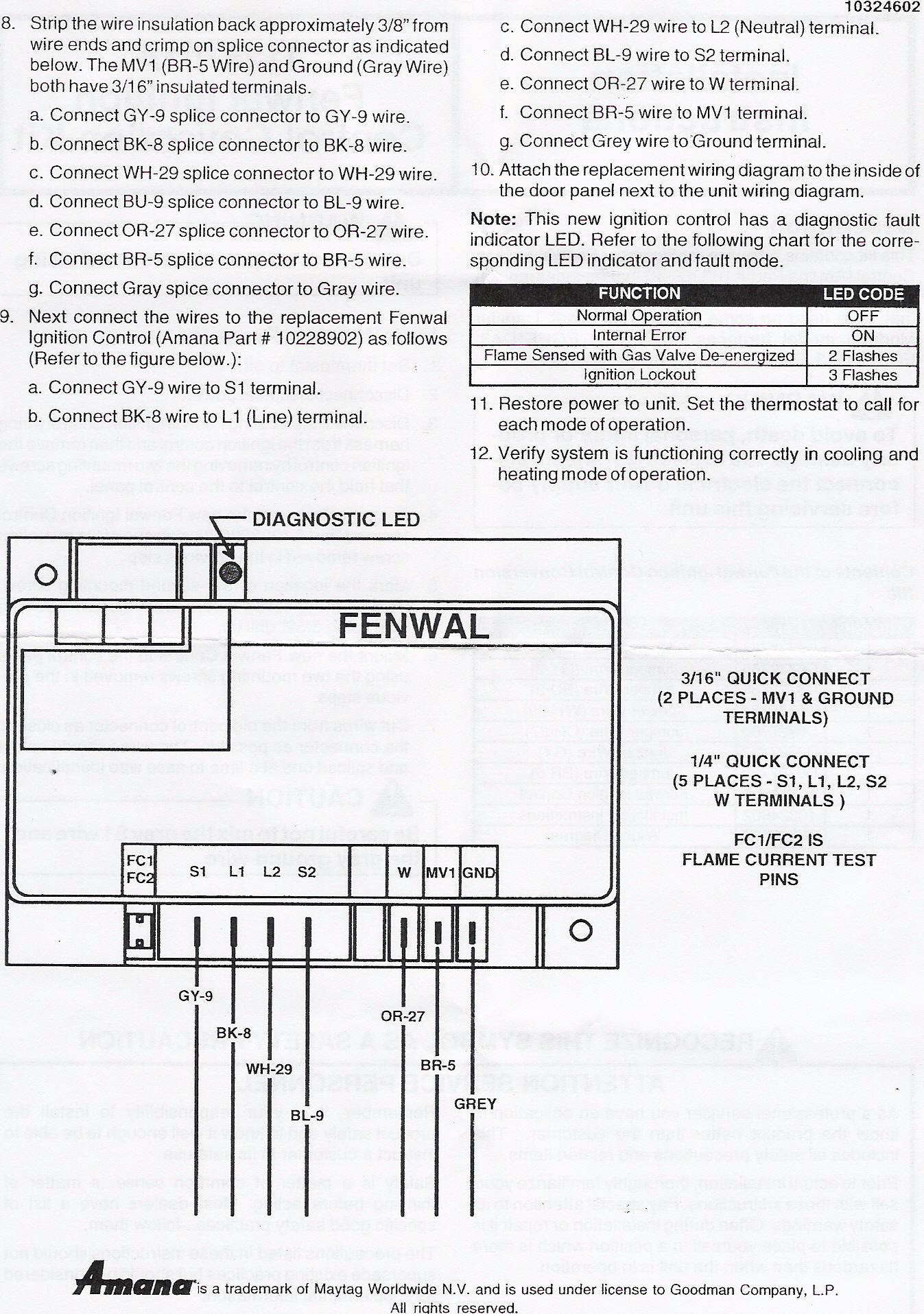 Amana Ignition Control Board 1128701a Instructions Fenwal Module Wiring Diagram Hvac