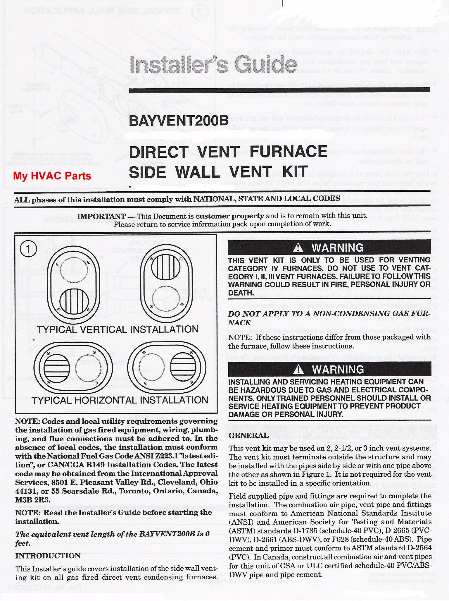 Sidewall Flue Vent Kit For 90 Furnaces Kit15815 Trane Xv80 2 Stagevariable Speed Gas Furnace Click Larger Image